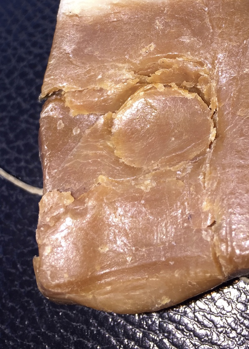 Thumb print in newly purchased handmade soap